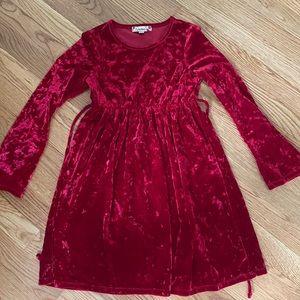 Long sleeve crushed red velvet dress